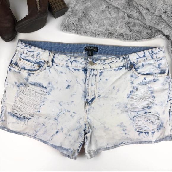 529f6d4519 Forever 21 Pants - Forever 21 Plus acid wash distressed light shorts